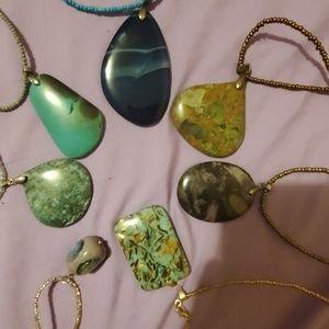 16+ handmade necklace pendant. agate jasper glass+